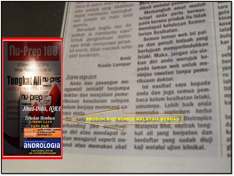 Metro Ahad 9,9,2012.Nu-Prep100 berpaten,kajian berkiriteriakan WHO dari Biotropics Malaysia Berhad