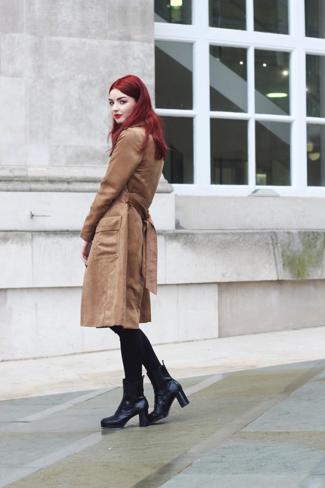 tan suede trench coat