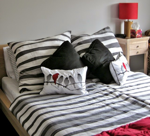 european duvets, striped bedding, red accent bedroom, accessories