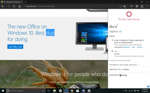 Cortana assist in Edge