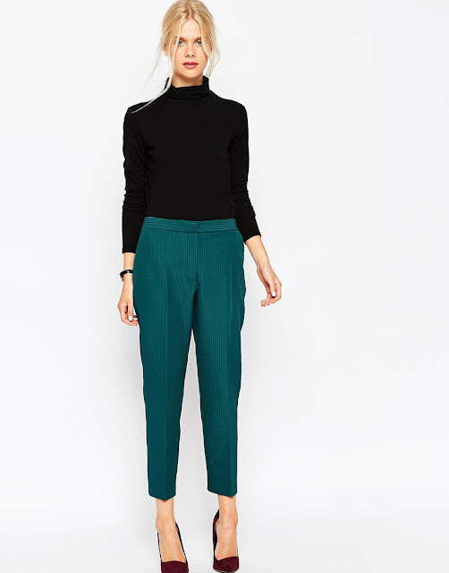 teal trousers, asos cigarette trousers,