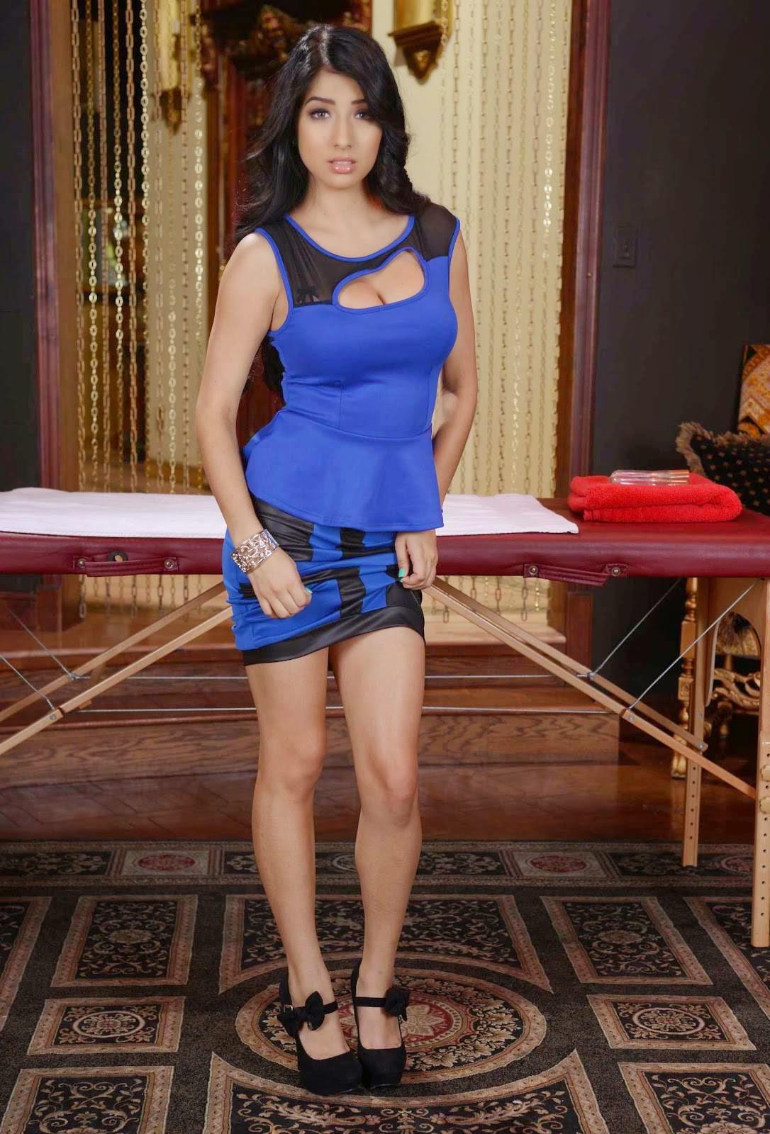Megan Salinas In Blue Dress Latest Photo Stills