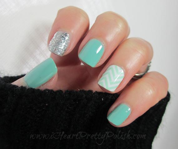chevron glitter turquoise nails