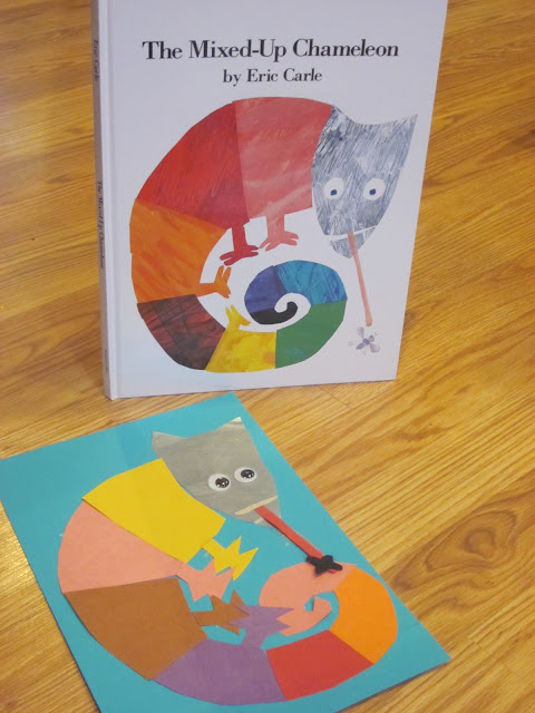 Eric carle inspired mixed up chameleon kids craft for Eric carle chameleon template