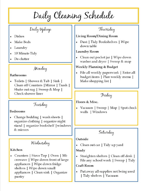 Weekly Routine Calendar : Printable house cleaning checklist template search