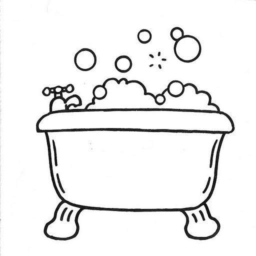 Regadera De Baño Animada:Bathtub Coloring Page