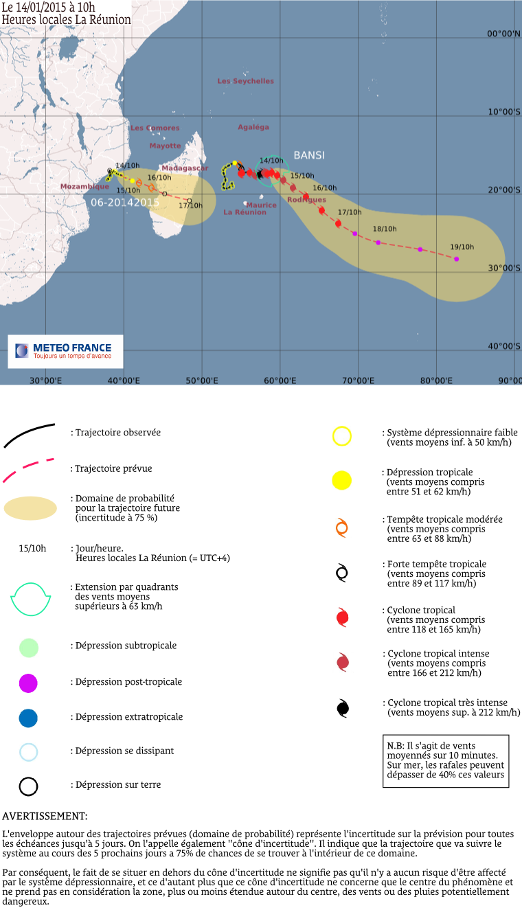 Cyclone tropical Bansi: le point à 10h00