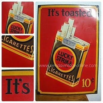 Carteles antiguos y reclamos publicitarios para decoración y colección. Cartel vintage de Lucky Strike