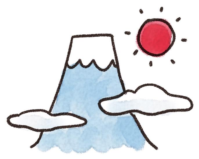 初日の出のイラスト「富士山での元旦」(お正月) ゆるかわいい