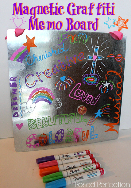 Magnetic Graffiti Memo Board for craft idea at tweet parties