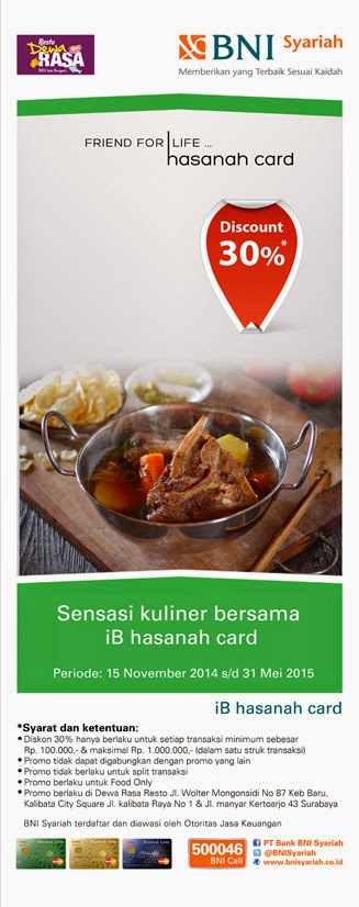 Nikmati sensasi kuliner di Dewa Rasa restaurant dengan iB hasanah card