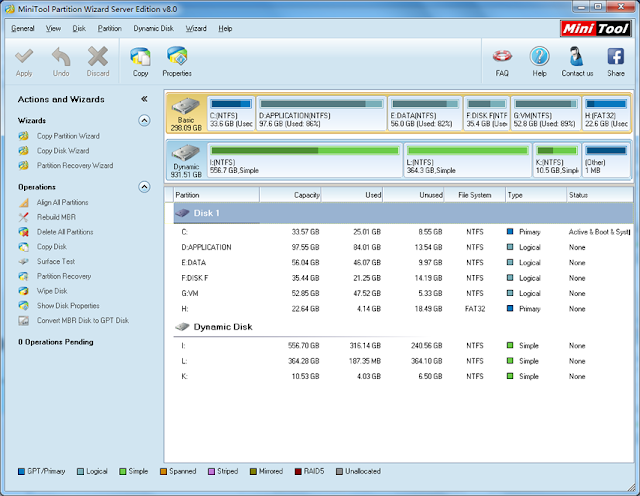 MiniTool Partition Wizard Home and Professional Edition 8.0 - Interface