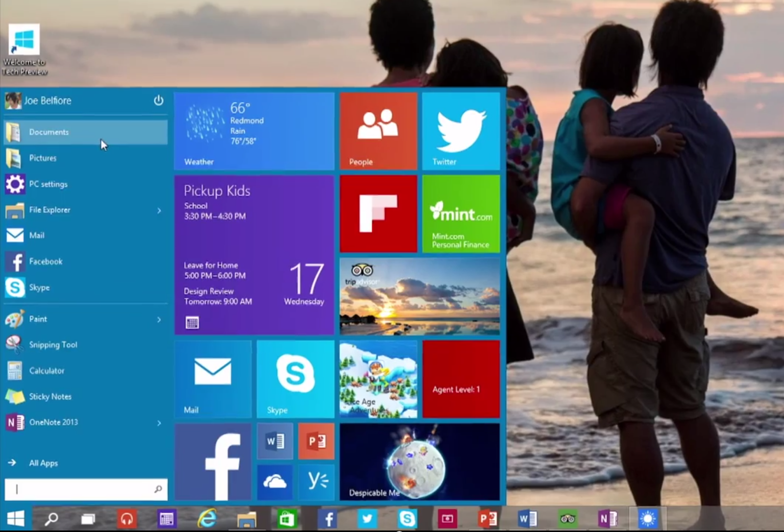 The Start Menu on Windows 10