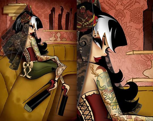 Tatuagens femininas em ilustrações sexy - 07