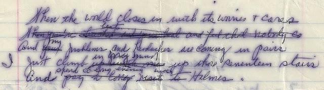 Photo of Holmes poem manuscript excerpt