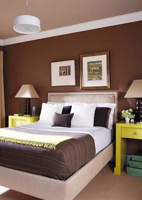 decoración verde marrón dormitorio
