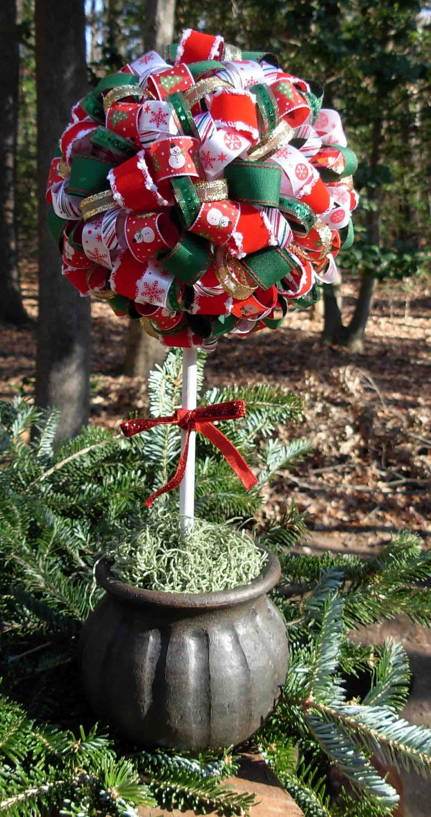 Crack Of Dawn Crafts Christmas Ribbon Topiary