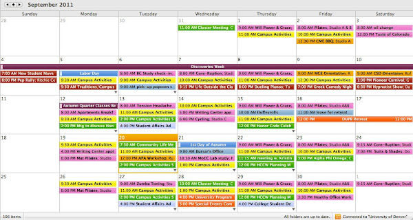 Puppy classes denver for Color coded calendar template