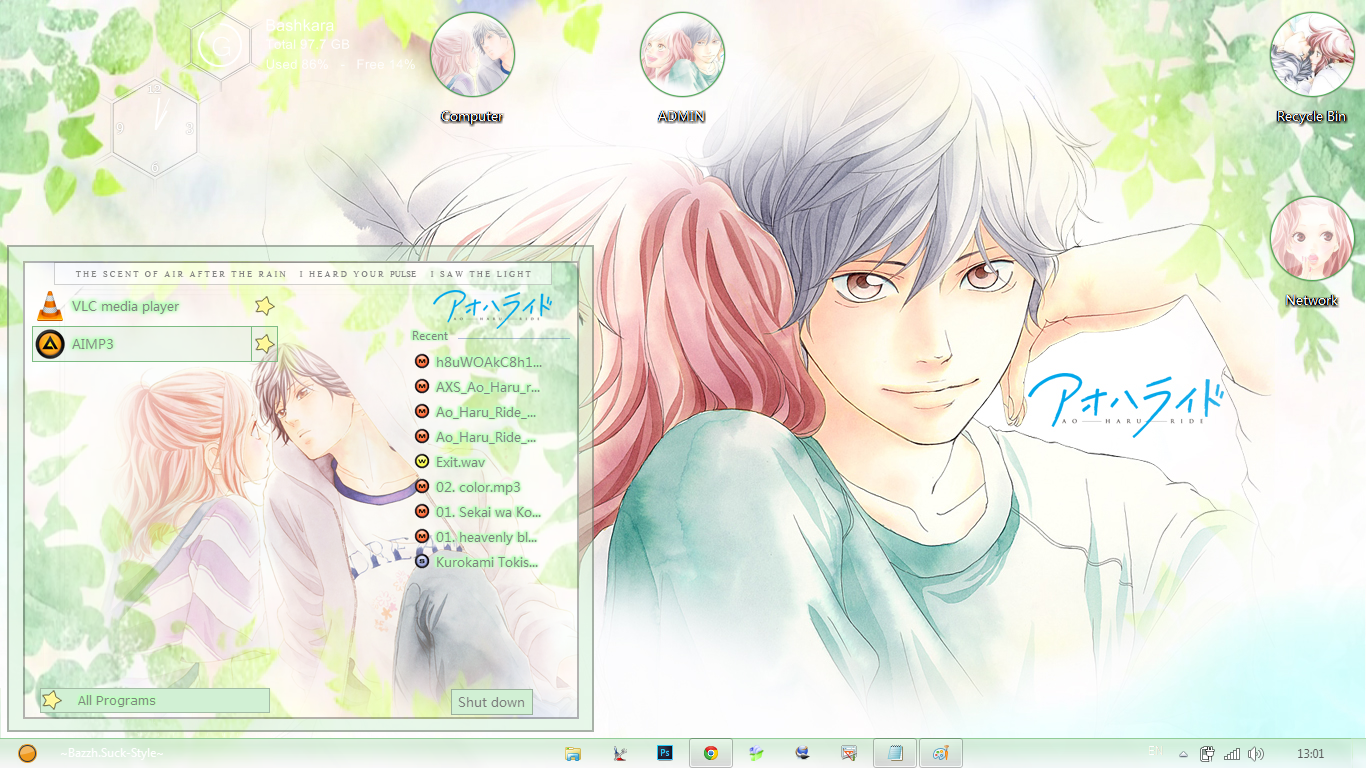 [Theme Win 7] Ao Haru Ride By Bashkara