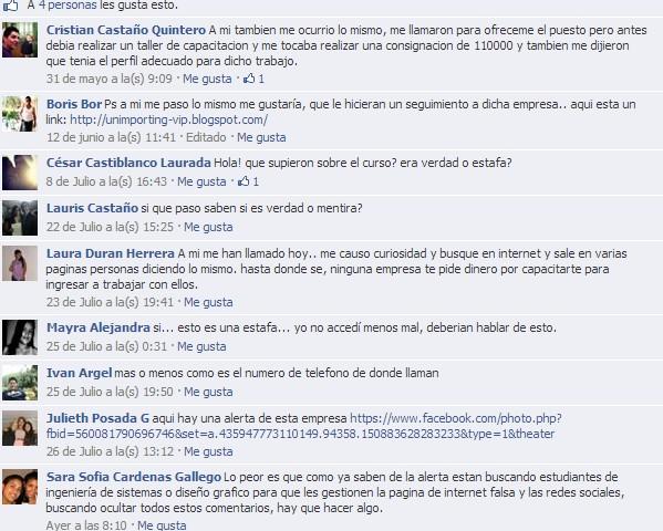 Comentarios de Algunas denuncias presentadas en facebook