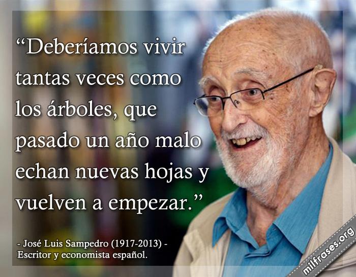 Deberíamos vivir tantas veces como los árboles, que pasado un año malo echan nuevas hojas y vuelven a empezar. frases de José Luis Sampedro (1917-2013) Escritor y economista español.