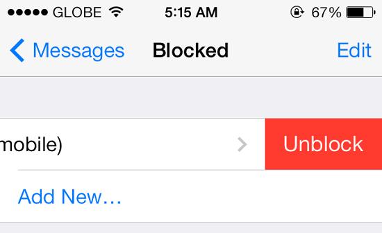 Unblock Person IOS 7
