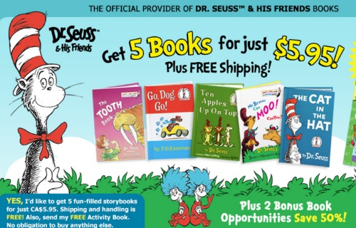 Dr.Seuss Get 5 Books for Just $5.95 + Free Shipping