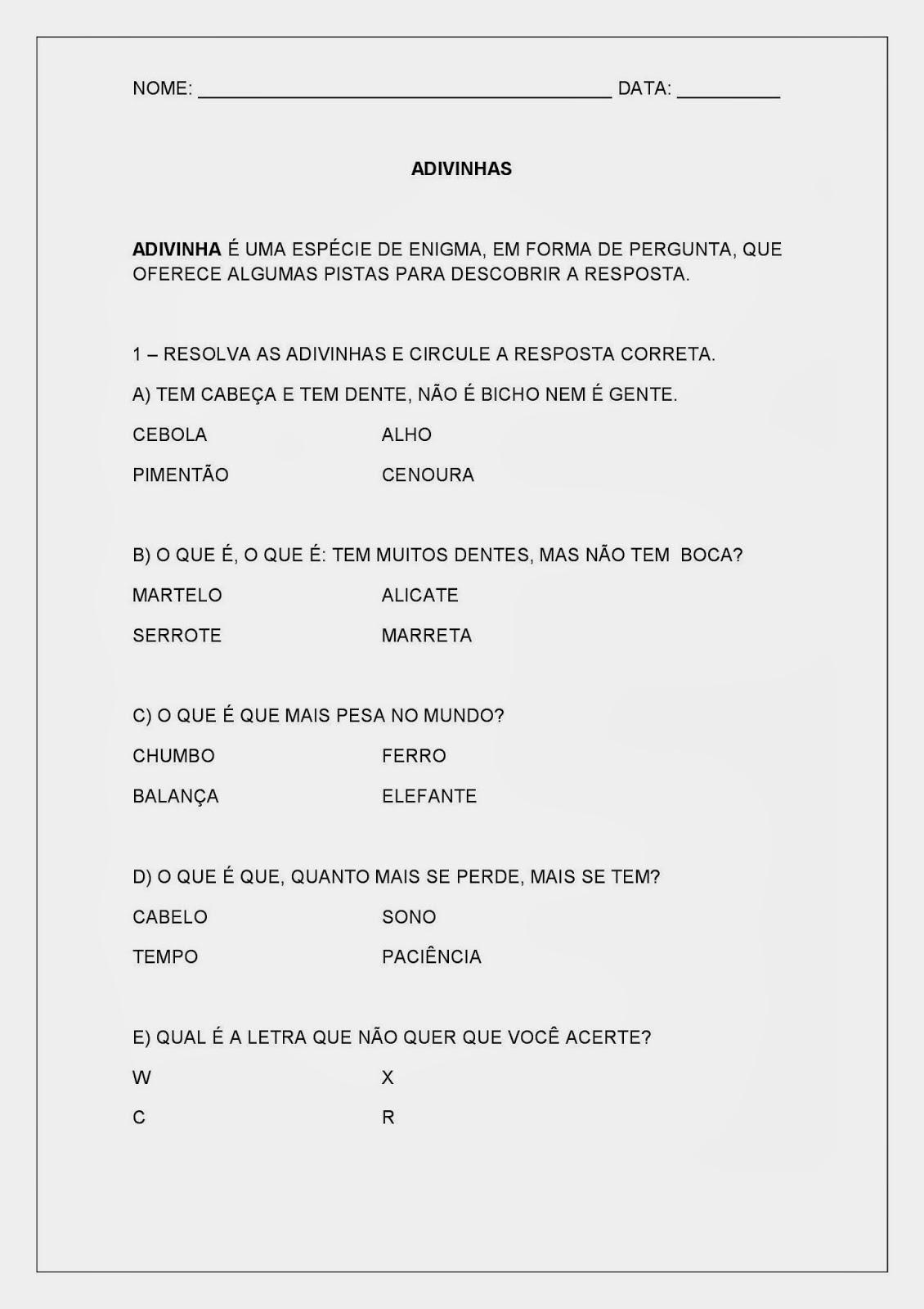 Atividades de Português - Alfabeto