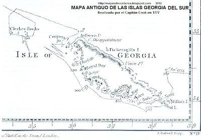 ISLAS GEORGIAS DEL SUR, Antartida, mapa antiguo de ISLAS GEORGIAS DEL SUR , Antartida año 1777