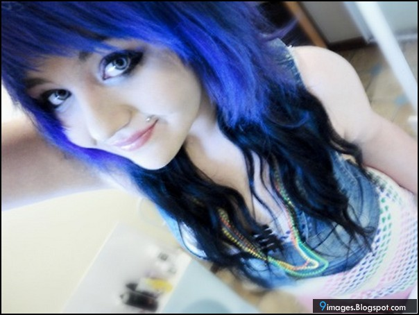 Pretty emo scene girls with blue hair