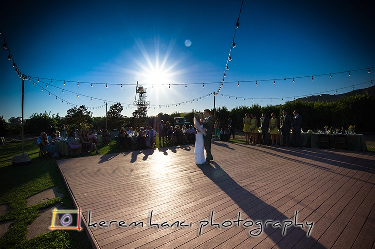 The first dance of the newlywed couple at The Limoneira Ranch.