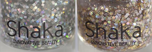 Shaka Glitter top coat: 01 Mirrorball - 02 Starlight dettaglio boccette