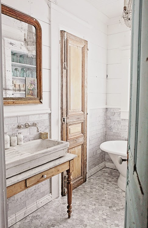 ... Marble Subway Tile, Hex Tile, and a French Stone Sink Dreamy Whites