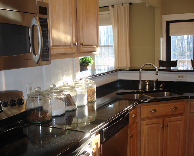 The yellow cape cod 31 days of character building granite for Builder oak countertop
