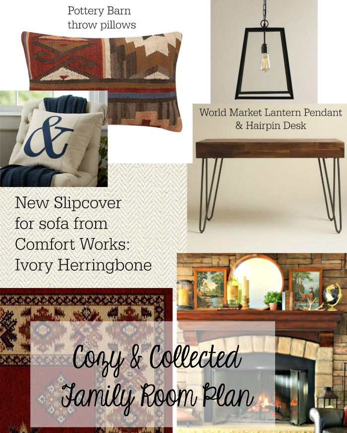 Collected and cozy family room mood board with Kilim throw pillows and World Market items - www.goldenboysandme.com