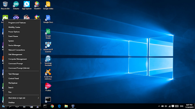Windows Ten Ability User Menu