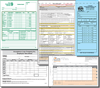 Display of various carbonless business forms