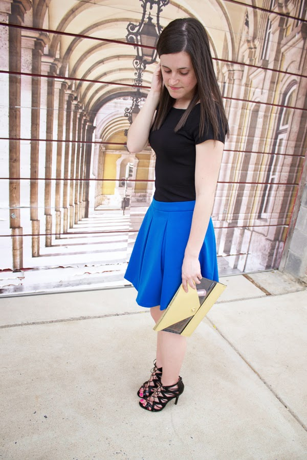 black, cobalt blue, blue, blue skirt, black dress, black heels, clutch