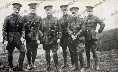 A  group of officers of the 8th Battalion, The Durham Light Infantry, at Cassel, France, April 1915 Left to right: Lieutenant E.A. Leybourne, Captain J. Turnbull, Lieutenant-Colonel J. Turnbull, Lieutenants P. Kirkup, F.M. Weeks, and C.L.B. Whall (D/DLI 2/8/59(6))