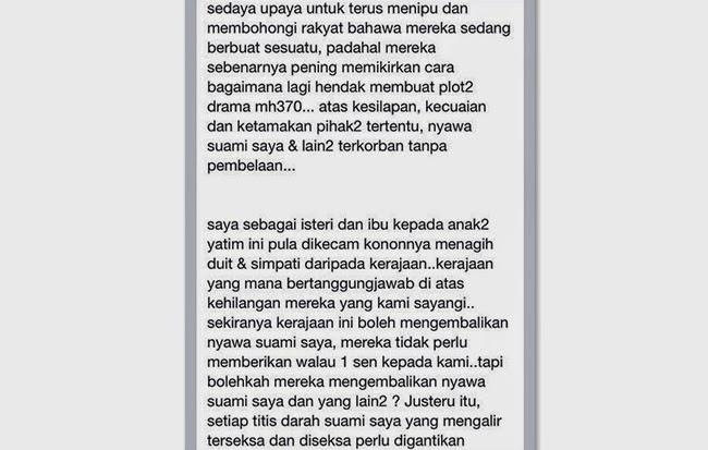 luahan hati maizura othaman, gambar isteri pramugara mh370 maizura othaman, luahan maizura othaman isteri pramugara mh370, kerajaan malaysia tipu waris mh370