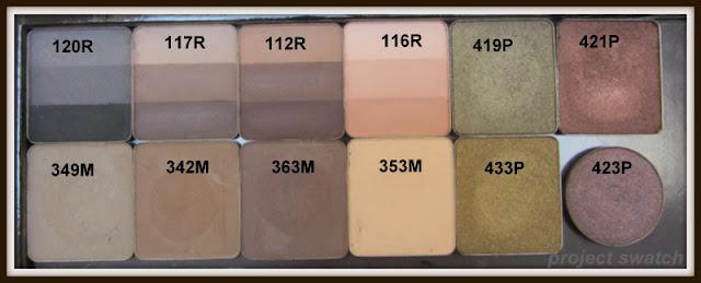 Inglot Rainbows: 120, 117, 112, 116; Inglot Mattes: 249, 342, 363, 353; Inglot Pearls: 419, 433, 421, 423