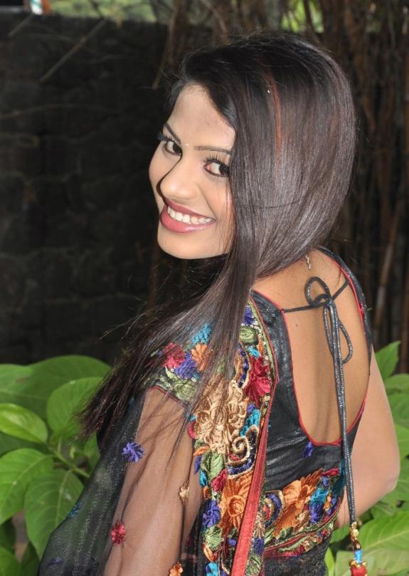Vaidehi sexy in black transparent saree