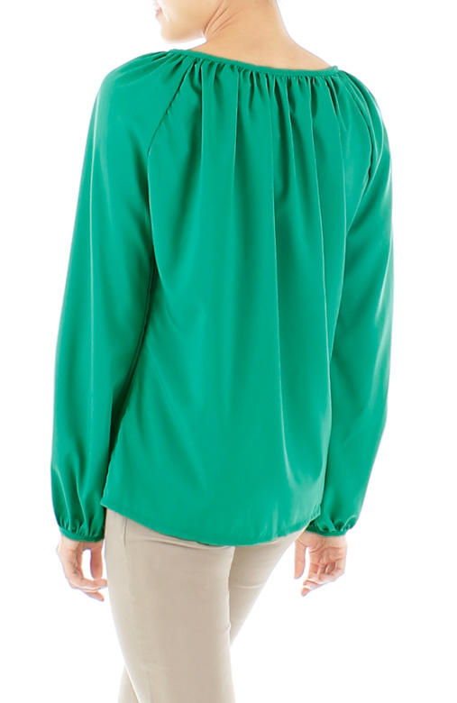 Gathered Wish Long Sleeve Blouse – Emerald Green