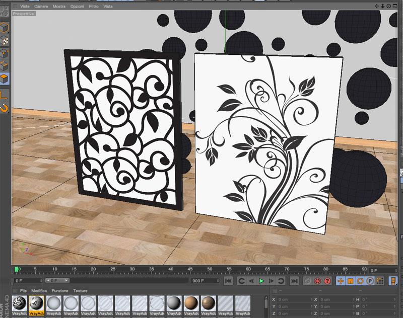 Visualizzare serigrafia vetro Vray nella finestra dell'editor di Cinema4D