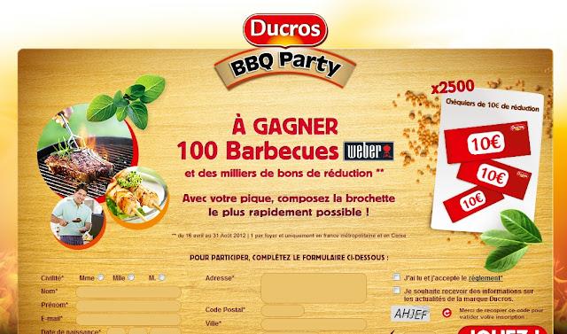 Jeu concours Ducros: à gagner 100 barbecues + 2500 chéquiers de 10€ de réductions bon plan ducros promo ducros