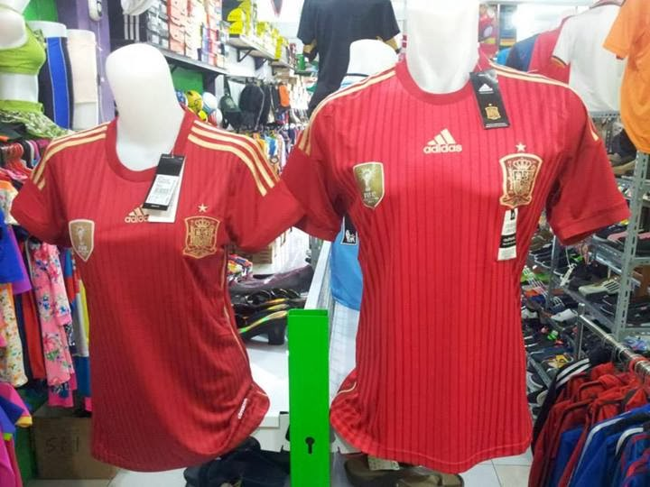 Jersey Bola Grade Ori Spanyol Home Man Official World Cup 2014