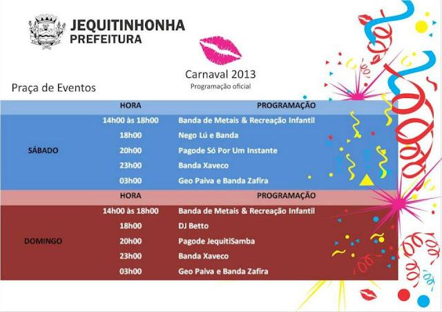 Jequi+programa%C3%A7%C3%A3o Cidades do vale se preparam para o Carnaval 2013