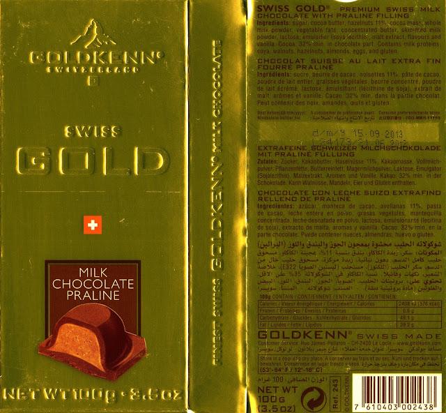 tablette de chocolat lait fourré goldkenn swiss gold chocolat lait praliné