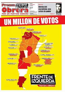 LEE PRENSA OBRERA: UN MILLON DE VOTOS