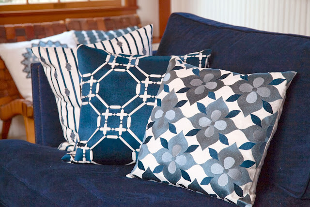 COCOCOZY 2014 Embroidered Pillows in blue